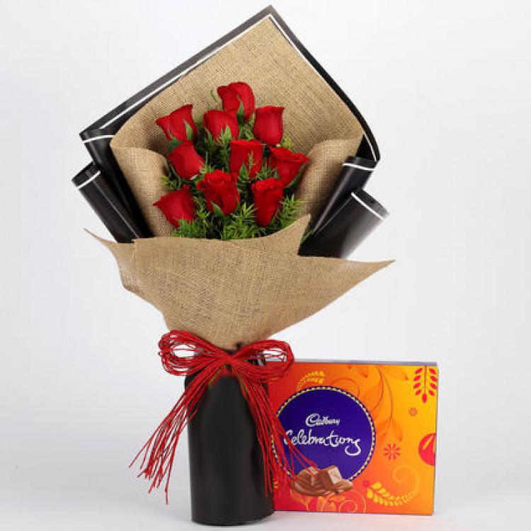 10 Red Roses & Cadbury Celebrations Combo