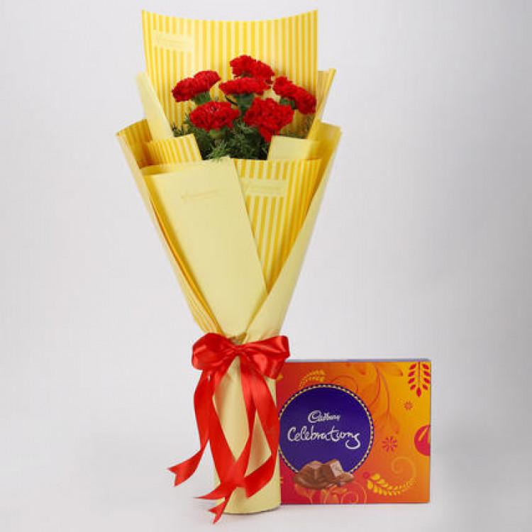 6 Red Carnations & Celebrations Box