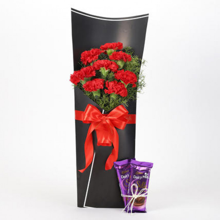 8 Red Carnations Bouquet & Dairy Milk Silk Combo