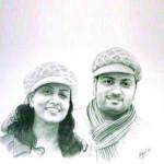 Couple Pencil Portrait A2 Size