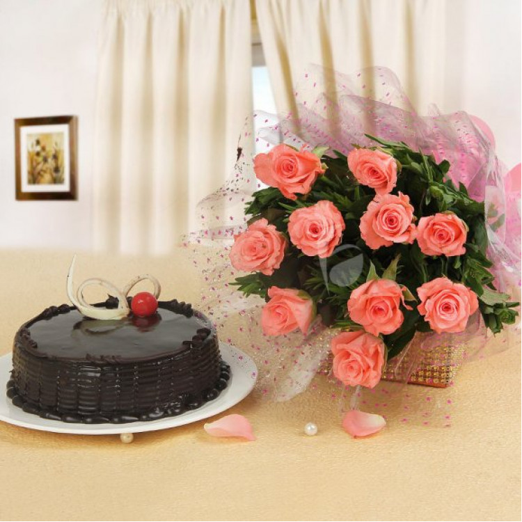 Delicious Chocolate Truffle Cake and Beautiful Pink Roses