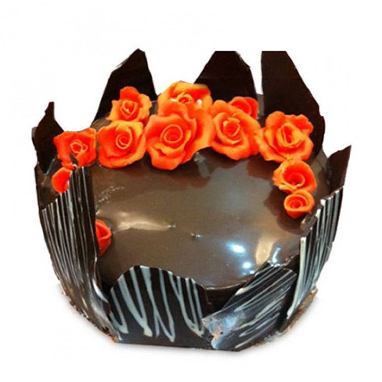 Chocolate Cake With Red Flowers