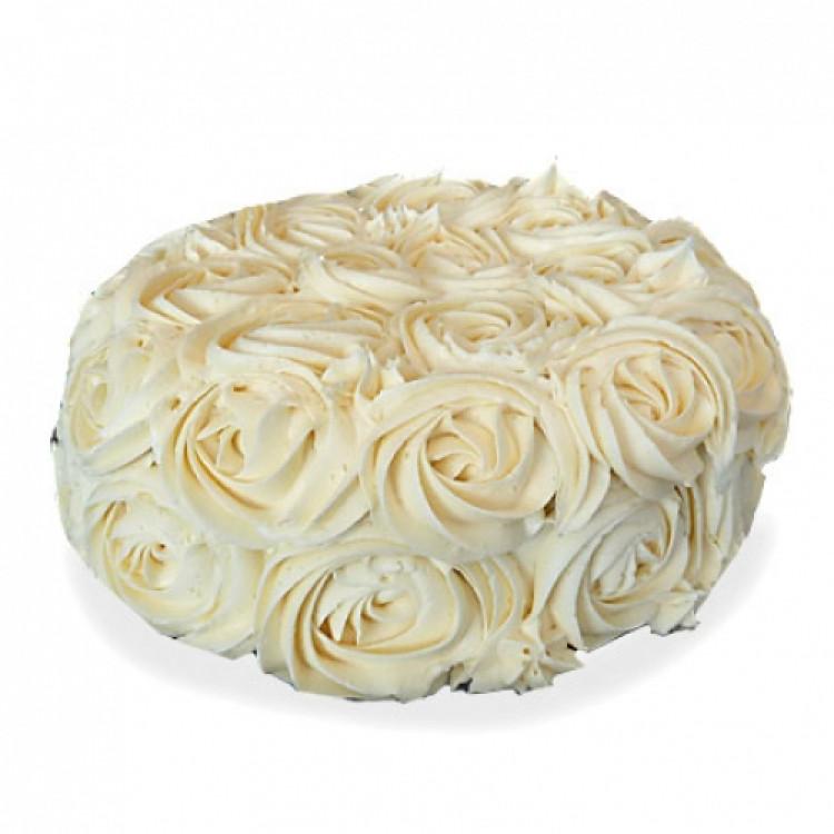 Half Kg White Rose Cake